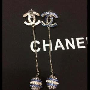 Chanel Silver Blue Silver Crystals CC WithEarrings